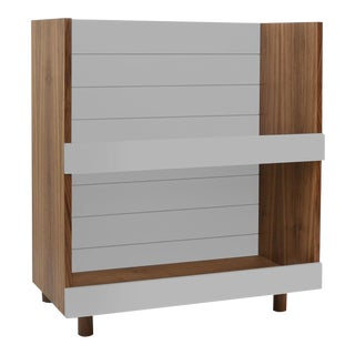 "Minimo Modern Kids 31"" Bookcase in Walnut With Gray Finish For Sale"