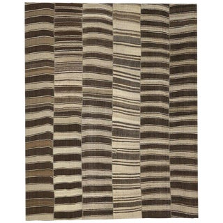 Vintage Turkish Striped Modern Style Kilim Rug, 12'03 X 15'04 For Sale