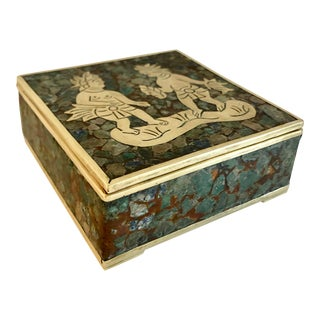Crushed Stones & Brass Box by Taxco For Sale