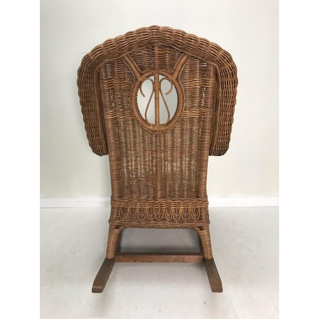Mid 20th Century Vintage Henry Link Rattan Wicker Rocking Chair For Sale - Image 5 of 7
