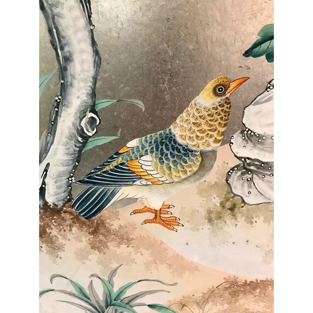 Mid 20th Century Handpainted Chinoiserie Wallpaper Panel, Silver Metal Leaf With Birds For Sale - Image 5 of 8
