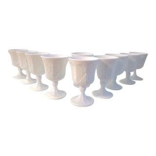 Mid-Century Harvest Grape Milk Glass Goblets, S/10 For Sale