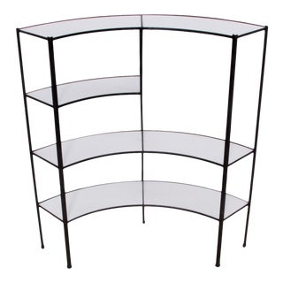 Black and White Vitrolite Glass Wrought Iron Shelf by Frederick Weinberg