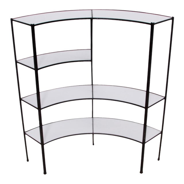 Black and White Vitrolite Glass Wrought Iron Shelf by Frederick Weinberg For Sale