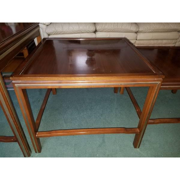 1960s 1963 Rare Widdicomb Mid-Century Walnut With Brass Inlay Nesting Tables - Set of 3 For Sale - Image 5 of 13