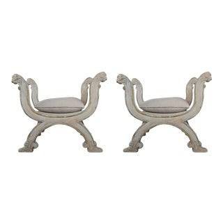 """Lion Regency Style """"X"""" Benches with Linen Seats - a Pair For Sale"""