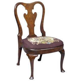 English Period Queen Anne Walnut Side Chair For Sale