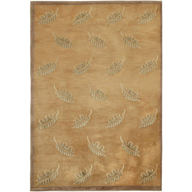 1950s Contemporary Modern Brown Hand Knotted Rug - 4' X 6' For Sale - Image 5 of 5