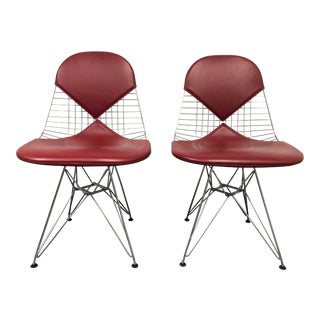 Pair of Herman Miller Eames Wire Chair + Bikini Cranberry Leather For Sale