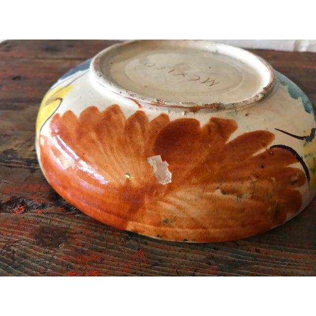 Blue Vintage Mexican Pottery Decorative Bowl For Sale - Image 8 of 11
