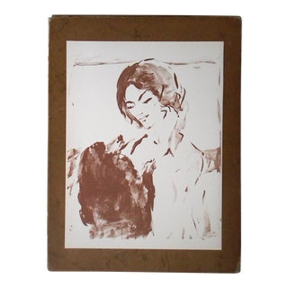 Vintage Mid 20th C. Ltd. Ed. Lithograph-Portrait-Marcel Vertes C.1961 For Sale