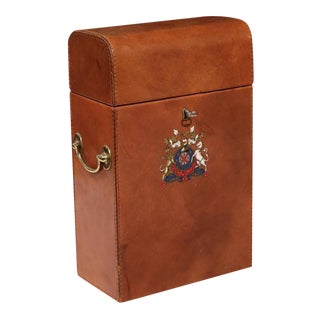 Early 20th Century French Leather Wine Bottle Storage Case with Engraved Crest For Sale