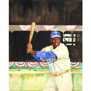 """Jerry Pinkney """"Jackie Robinson"""" Watercolor Painting"""