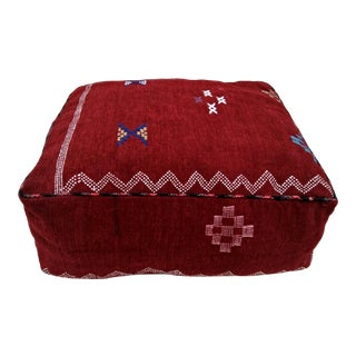 Moroccan Red Stool Pouf Cover For Sale