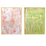 Image of Abstract Set of Peachy Skies and Grassy Hills Original Paintings - 2 Pieces For Sale