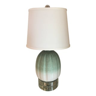 Lucite Base & Silk Shade Teal Ombre Lamp