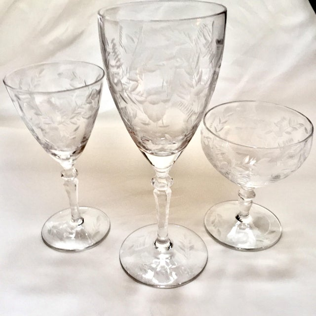 Art Deco Etched Crystalware Set - 18 Pieces For Sale - Image 10 of 11