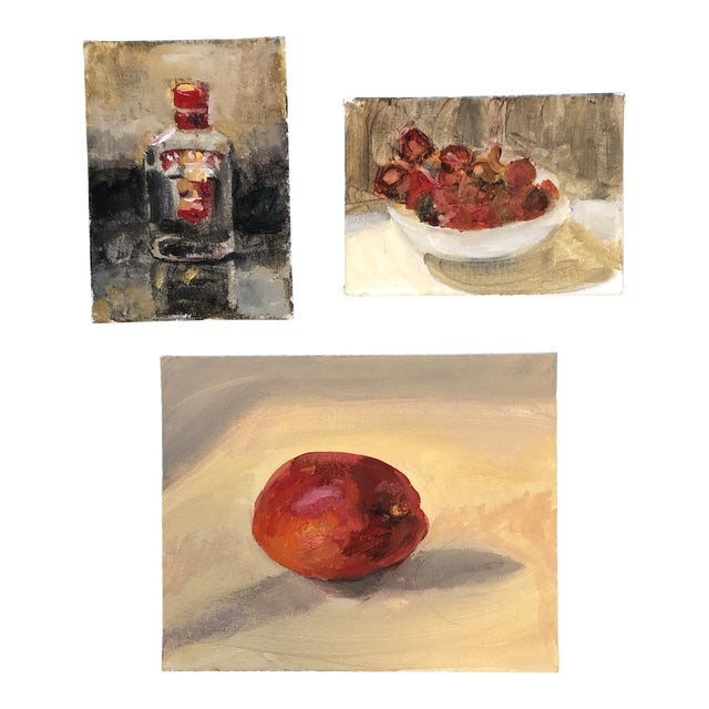 Original Contemporary Impressionist Still Life Study Paintings 3 Gallery Wall Collection For Sale