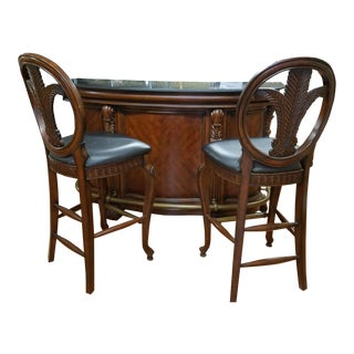 Beautiful Cherry Bar With Marble Top and Two Ornate Wood Stools For Sale