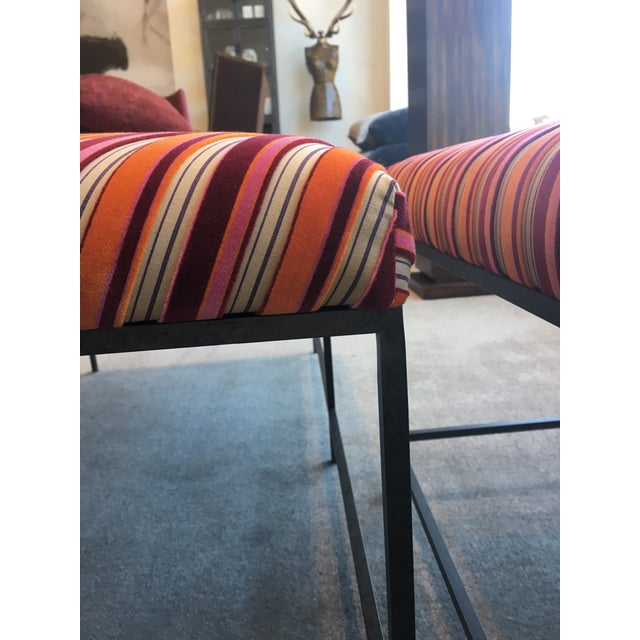 Schumacher Striped Velvet Benches - a Pair For Sale In New York - Image 6 of 8