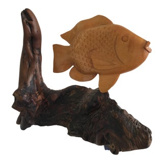 Wooden Carved Fish on Branch Stand