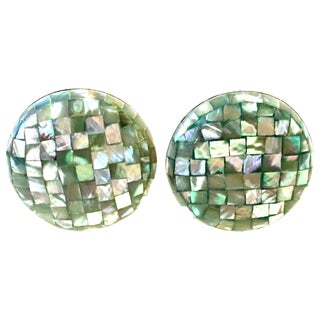 Vintage Lucite Cased Abalone Confetti Mosaic Disc Earrings For Sale