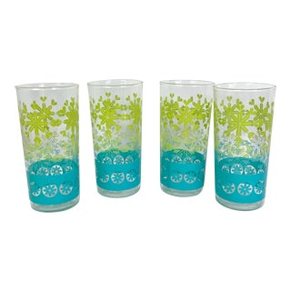 Mid-Century Modern Aqua Blue and Lime Green Snowflake Glasses Barware by Anchor Hocking - Set of 4 For Sale