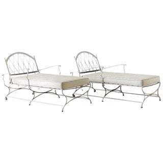 Pair of Neoclassical Cast Iron Chaise Lounges For Sale