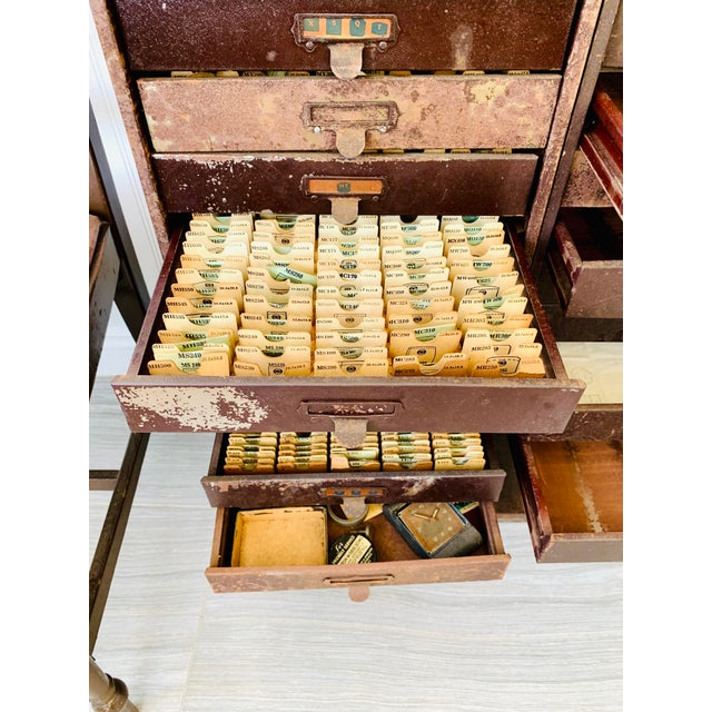 Industrial Metal Watchmaker/Jeweler Parts Cabinets - a Pair For Sale - Image 9 of 13
