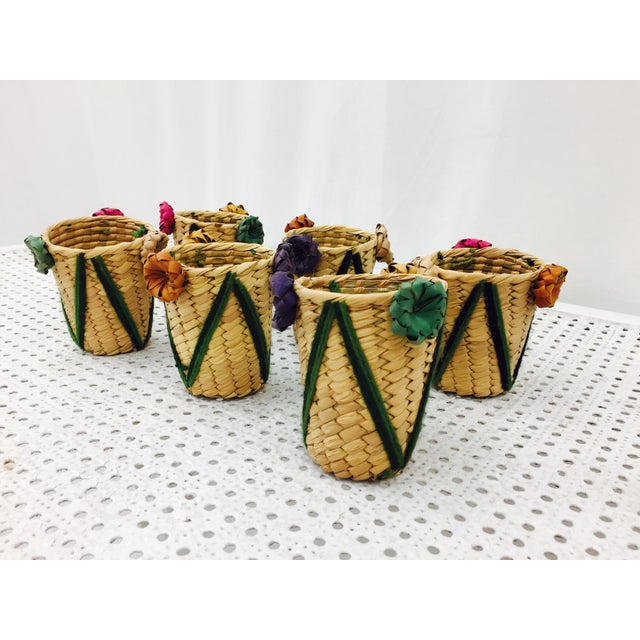 Vintage Woven Grass Cocktail Glass Holders - Set of 6 - Image 3 of 11