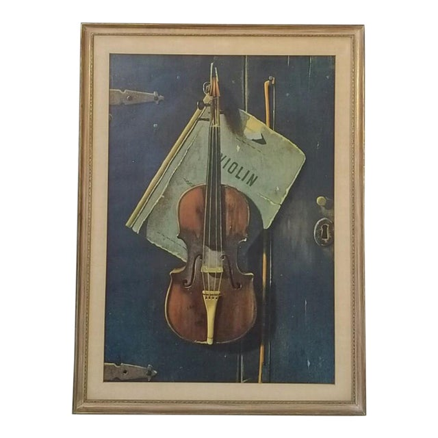 Vintage Print of a Violin and Sheet Music For Sale