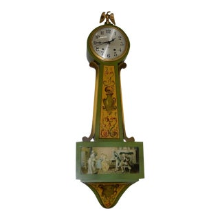 Vintage 1930s Hand Painted Wall Clock For Sale