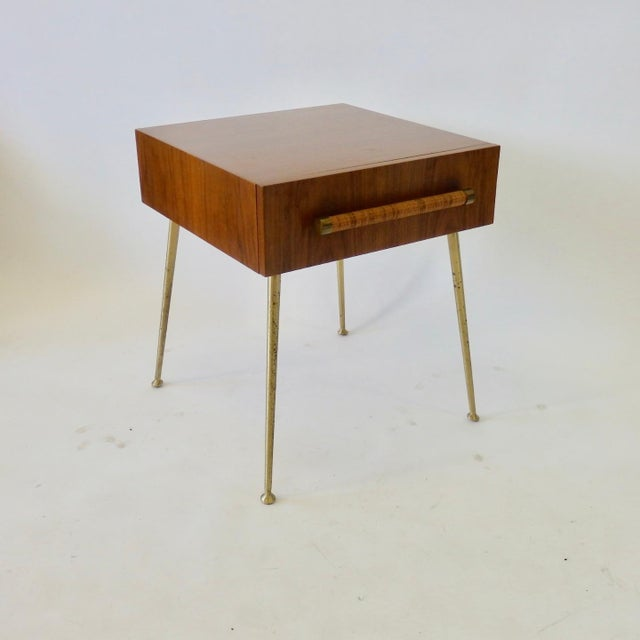 Robsjohn Gibbings Widdicomb Nightstand Side Table with Raffia Cane Covered Pull For Sale In Detroit - Image 6 of 9