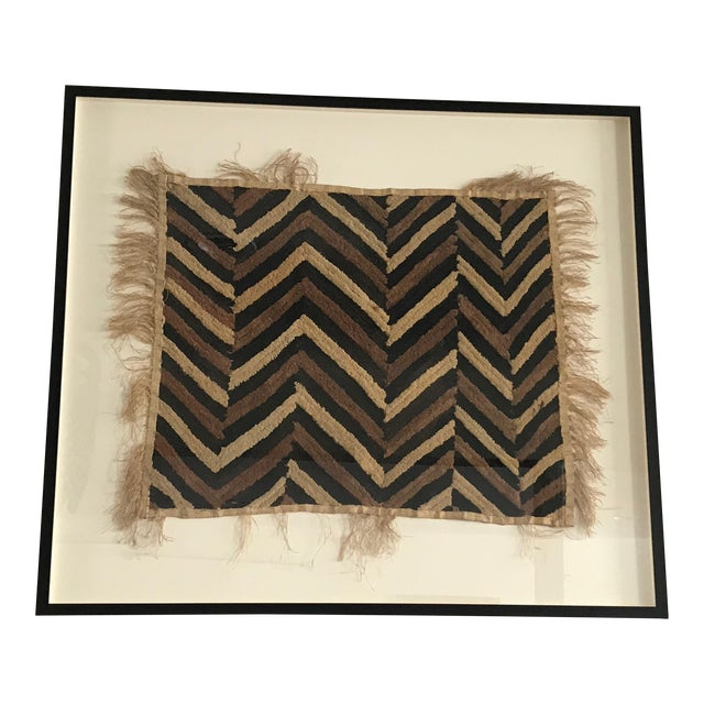 Antique African Zig Zag Pattern Kuba Cloth Tapestry For Sale