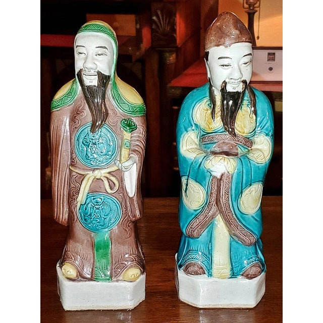 Vintage Chinese Ceramic Monks - a Pair For Sale - Image 12 of 12