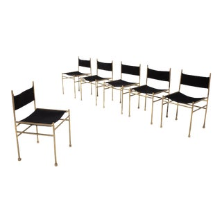 Brass and Black Velvet Dining Chairs by Luciano Frigerio For Sale