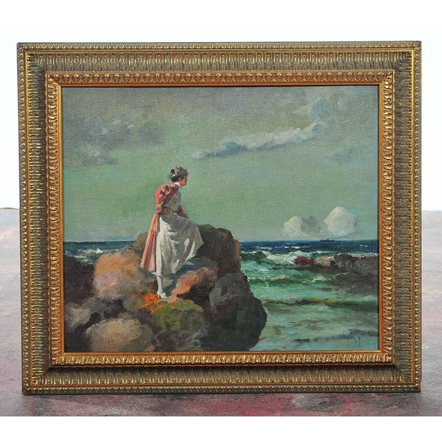 """""""Woman Looking at Sea,"""" Painting by A. Neogrady - Image 2 of 9"""