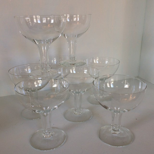 Vintage Italian Half Sphere Hollow Stem Crystal Champagne Glasses - Set of 8 For Sale - Image 13 of 13