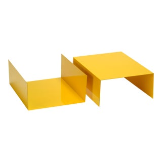 1960s Aluminum Paper Trays or Bookends Refinished in Yellow - a Pair For Sale