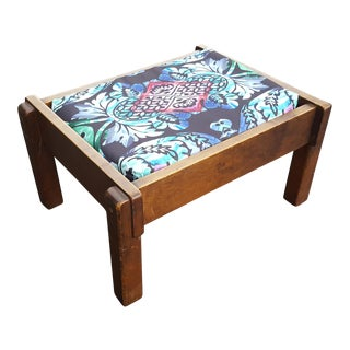 Vintage Bohemian Chic Mid-Century Ottoman For Sale