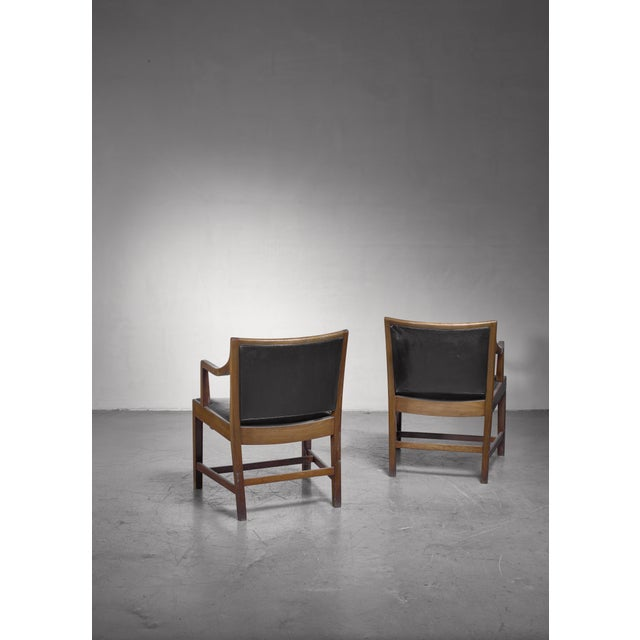 Mid-Century Modern Pair of Kay Fisker Attributed Armchairs in Dark Green Leather For Sale - Image 3 of 5