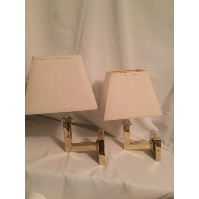 Vintage Modern Square Arm Wall Lamps Heavy Brass in the Style of Karl Springer - a Pair For Sale - Image 10 of 12