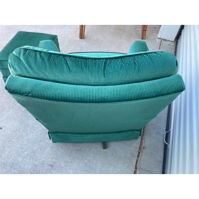 Vintage Broyhill Emerald Green Chair and Ottoman For Sale - Image 9 of 13