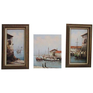 Late 20th Century California Seascape Paintings - Set of 3 For Sale
