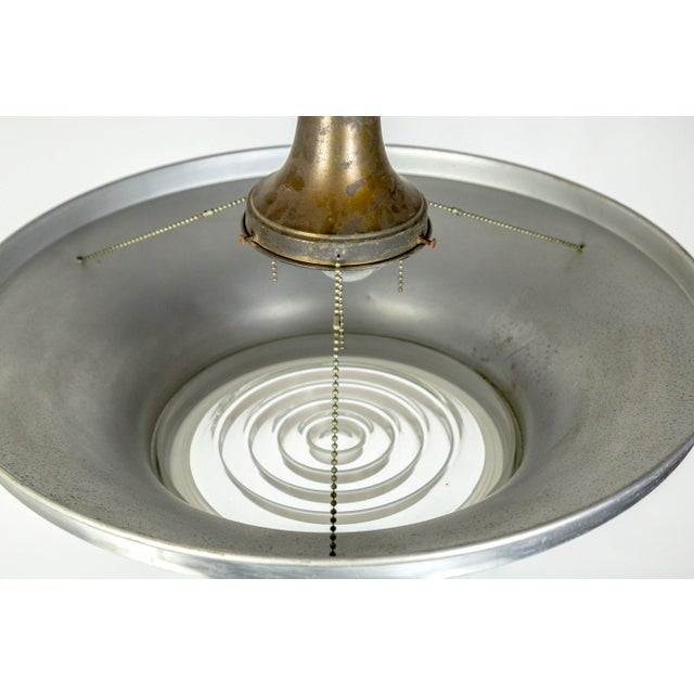 Metal Art Deco Aluminum Dish Pendants W/ Unique Glass Diffusers (2 Pairs Available) For Sale - Image 7 of 13