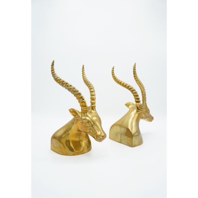 Mid 20th Century Modernist Sculptural Brass Gazelle Bookends - a Pair For Sale - Image 5 of 8