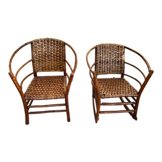 Vintage Handcrafted Hickory Bentwood Chairs...rocker and Arm Chairs- a Pair For Sale