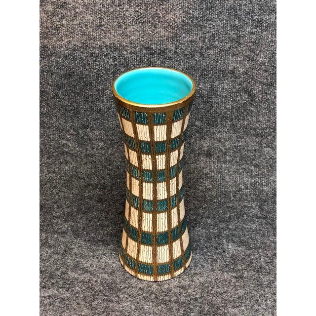 Mid Century Italian Blue, Gold & Cream Vase For Sale - Image 4 of 4