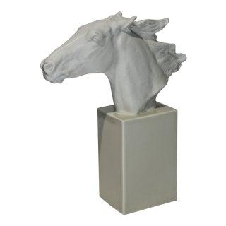Vintage 1930s-1940s Horse Sculpture White Porcelain For Sale
