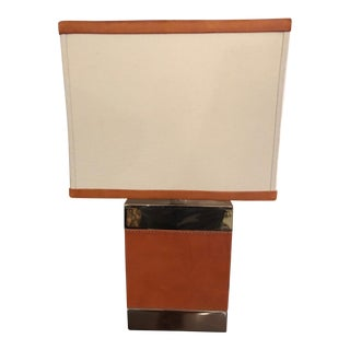 Ralph Lauren Small Leather and Chrome Table Lamp For Sale